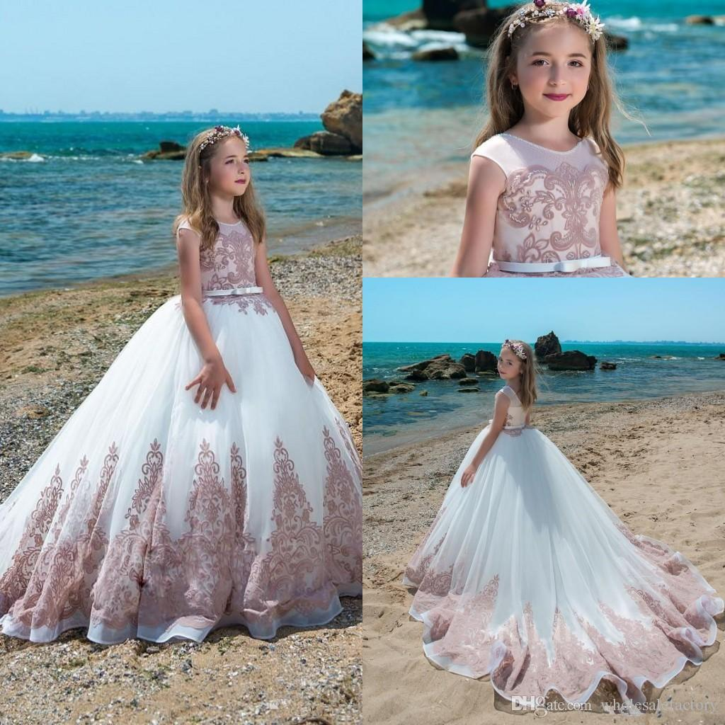 87e619ee47 2018 Scoop Neck Lace A Line Flower Girls Dresses Tulle Lace Applique Beaded  Bow Sash Girls   Pageant Dresses Formal Birthday Party Wears Little Girl  Flower ...
