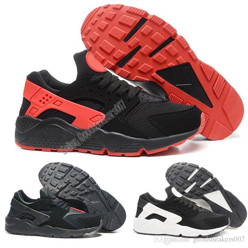 new product 61647 7f587 2018 Venta Caliente Clásico Huarache Zapatillas Nike Air Huaraches 1 Para  Mujer Triples Negro Blanco Rojo Malla Superior Respirable Zapatillas De  Deporte 36 ...