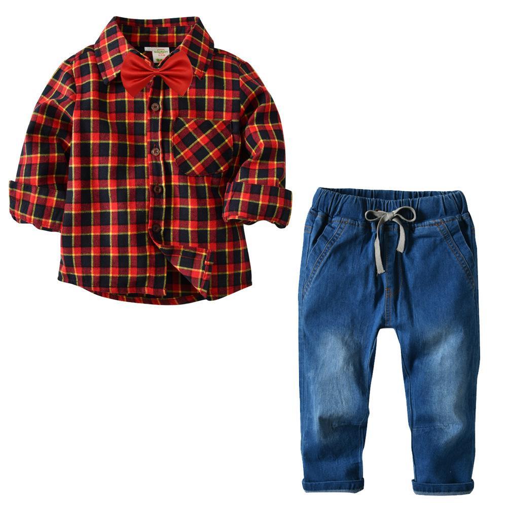 c131273d9 Compre Meninos Do Bebê Vestir Xadrez Camisa De Manga Longa + Denim Calças  De Conjunto De Desgaste Das Crianças Conjunto De Duas Peças De Sinobaby