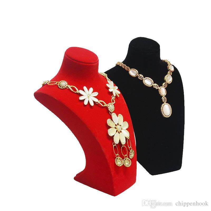 Alta calidad resina maniquí joyería perla cadena colgante display busto terciopelo oro collar organizador expositor sostener soporte pecho envío gratis