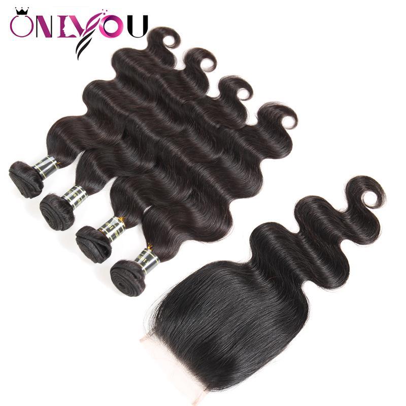가장 뜨거운 원시 브라질 처녀 머리 웨이브 4 묶음 정면 폐쇄 및 인간의 머리카락 레이스 폐쇄 직조 바디 웨이브 인간의 머리카락 번들