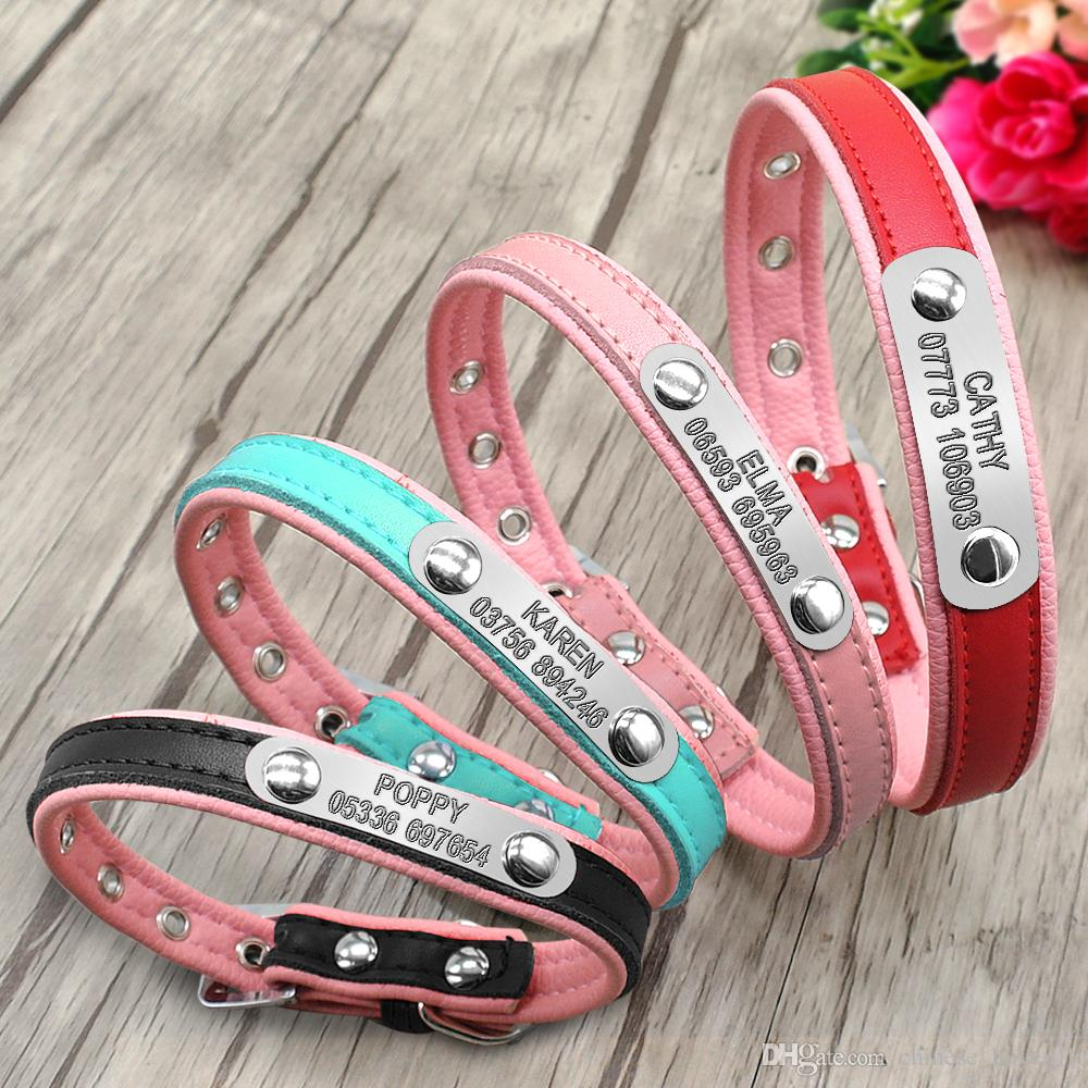 ed6b653fa9ee 2019 Leather Personalized Dog Collars Custom Cat Pet Name ID Collar Free  Engraving For Small Medium Dogs From Chinese_buyer01, $1.51 | DHgate.Com
