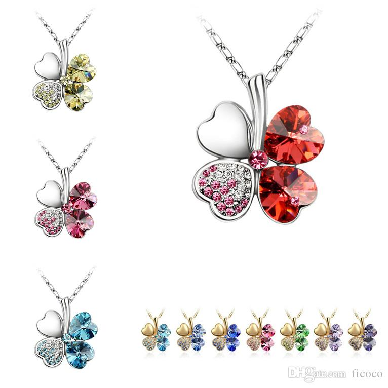 Charming 18 Colors Clover Crystal Pendants 18K Gold Sliver Plated Chain Swarovski Amethyst Jewelry Rhinestone Choker