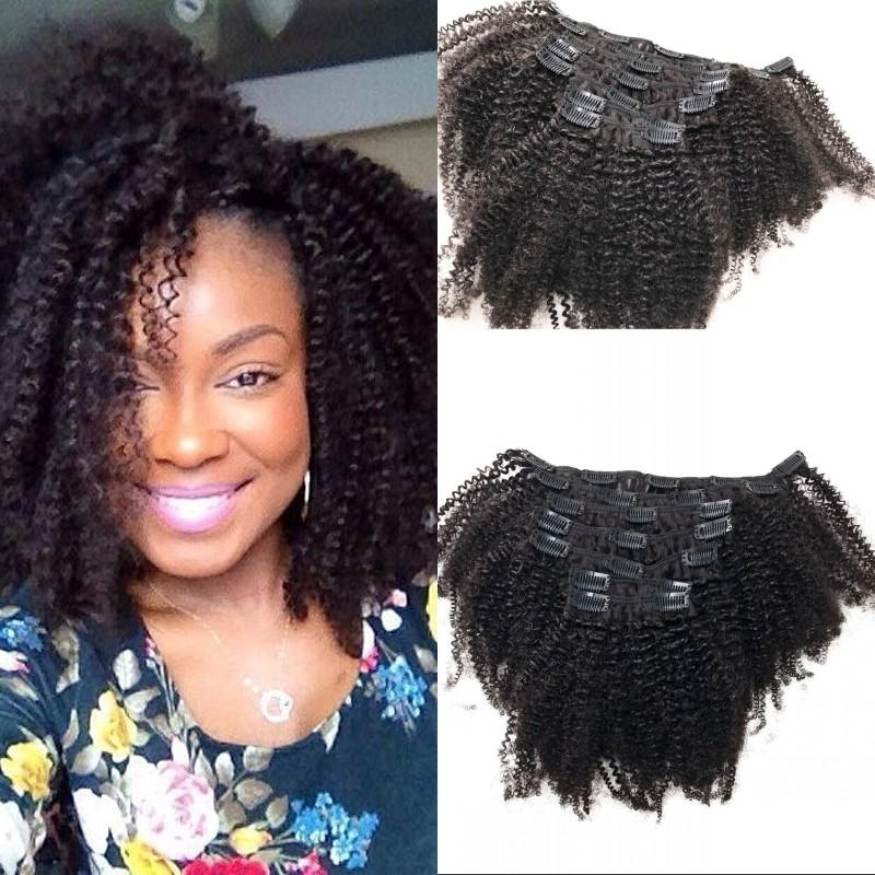 Afro Kinky Human Hair Clip ins for Black Women Eurasian Curly Clip in Hair Extensions FDshine