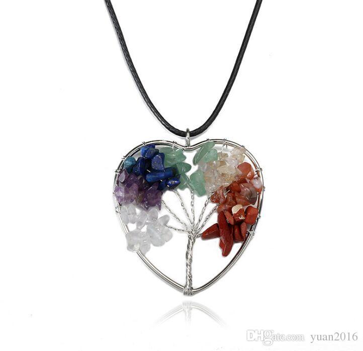 Hochwertige Lebensbaum Anhänger Halsketten Multicolor Chakra Naturstein schmuck Frauen Herz Halskette Mode Kristall Schmuck Geschenk