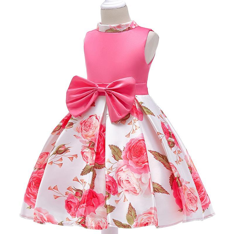 9f44b856d0720 flower Girls dress Printed princess party dress rose children s clothes  girl wedding party dress summer kids baby girl tutu clothing
