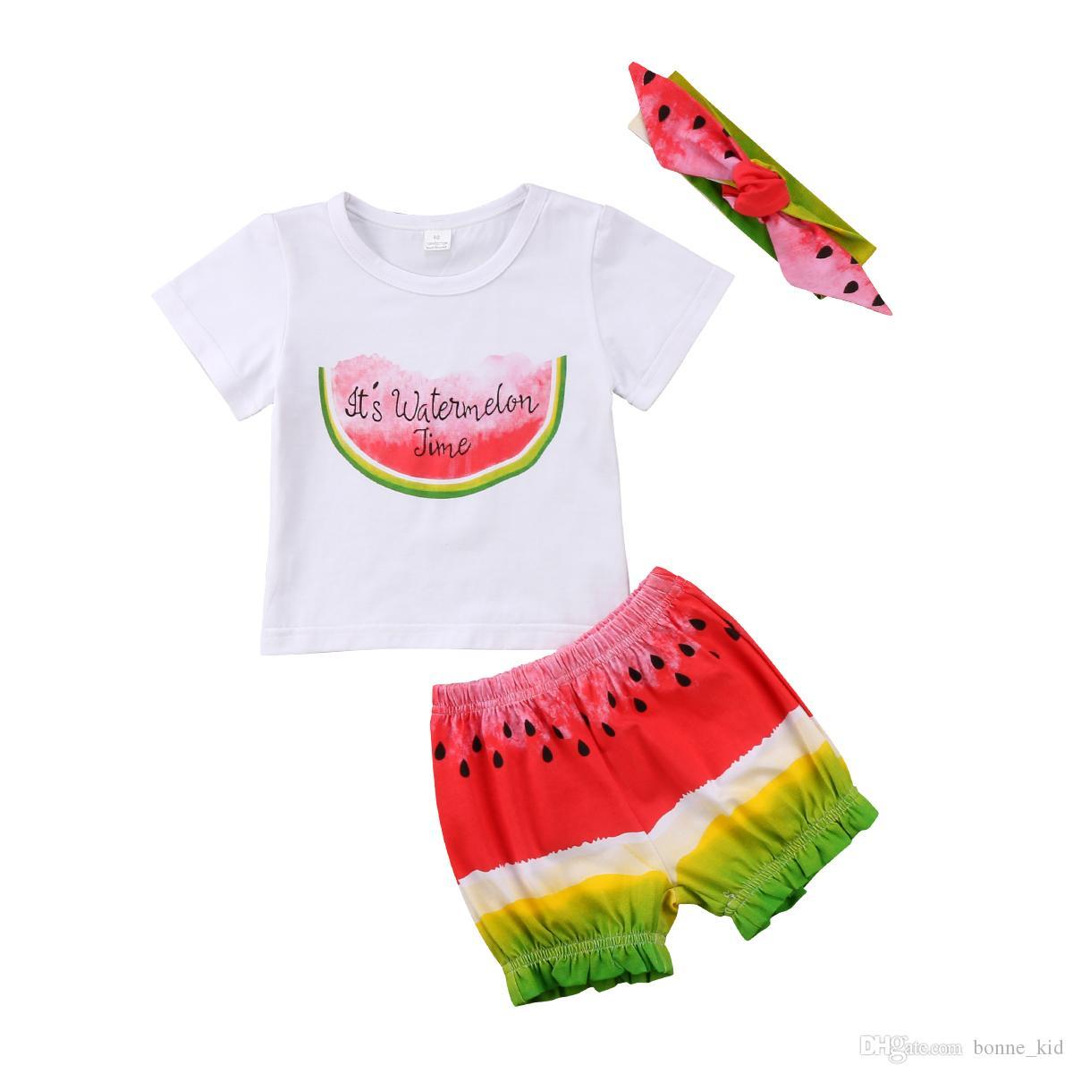 5009d7d964c2 2019 Newborn Baby Girls Clothes Watermelon T Shirt+Shorts+Headband ...