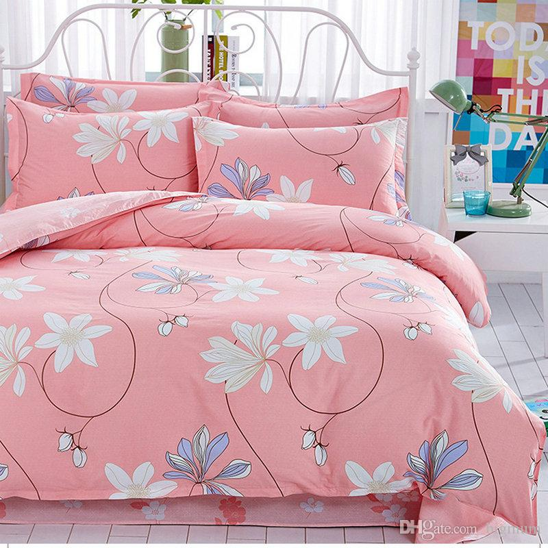 Luxury Floral Cute Children Cotton Bedding Sets for Bedroom Duvet Cover+Pillowcases Cartoon Flower Kid Adult Bedding Set