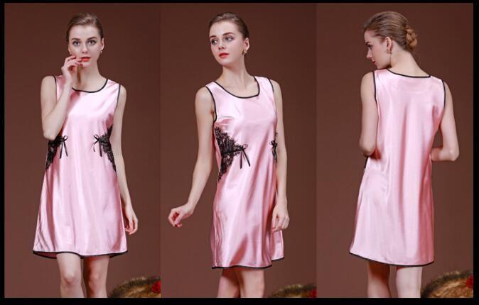 2018 Elegant Women's Imitation silk Brand Nightdress Bathrobe Sexy Thin material pajamas Relaxed personality Sleepwear lace decoration Robe