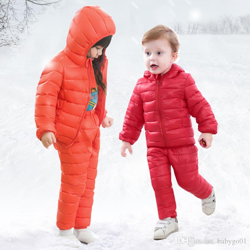 bcc0a30ff Children Winter Clothes Sets Cotton Padded Hooded Jacket+Pants Baby ...