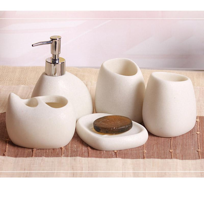 2019 bathroom accessories sets resin cobblestone design latex bottle rh dhgate com