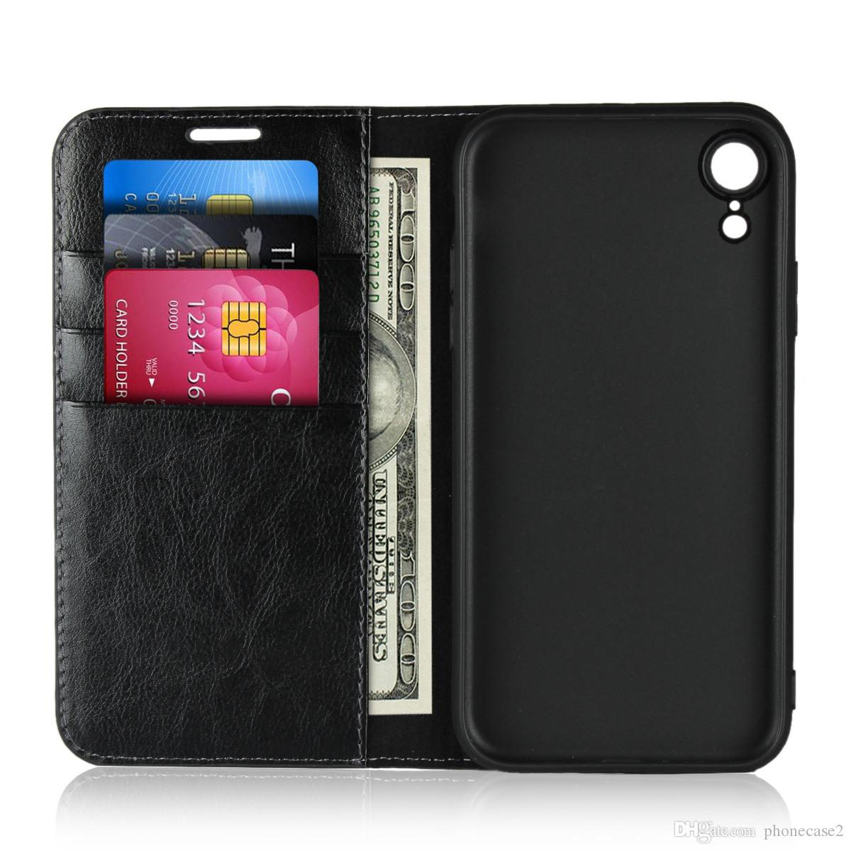 new product 9b48a 77d15 For Apple 2018 iPhone XS Plus genuine leather Luxury flip cover Wallet  Kickstand Card Slot DNGN protective iphone 6.5 6.1 inch