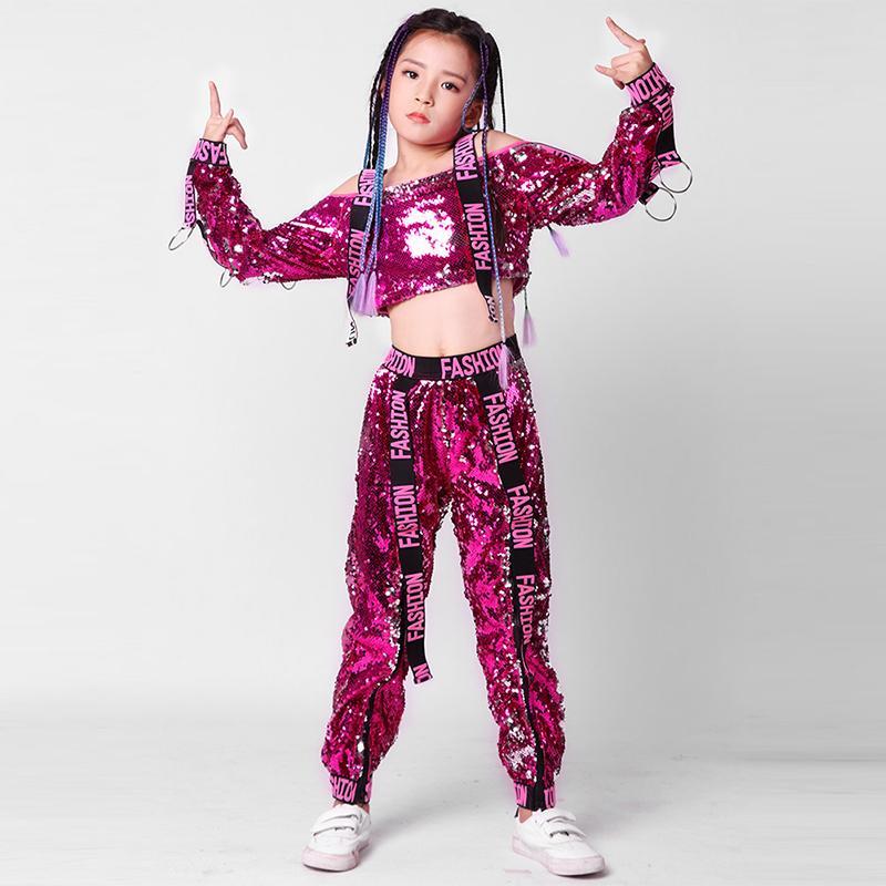 b0866eda3cff 2019 Tie Kids Dance Costumes Sequin Jazz Hip Hop Performance ...