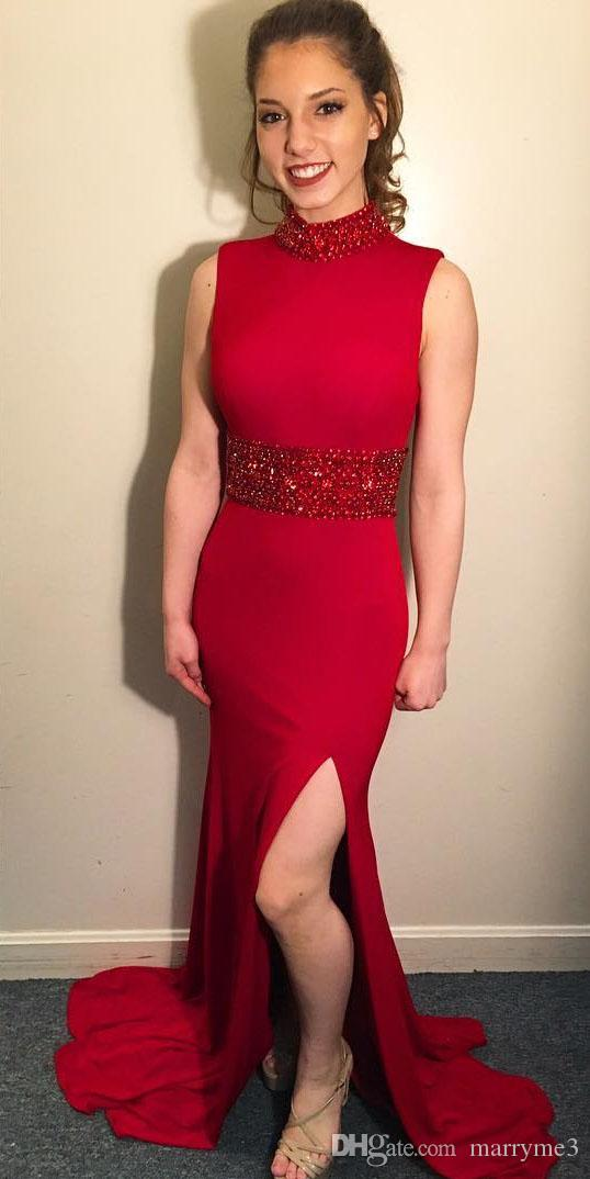Sereia vermelha Vestidos de Baile Sexy Gola Alta Com Contas Sash Open Back Side Dividir Formal Vestidos de Festa À Noite Para As Mulheres Barato MP163