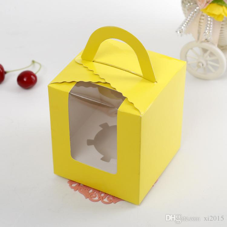 Pure Color sola caja de la magdalena con PVC manija de la ventana cajas de muffin de papel al por mayor envío gratuito wen5767