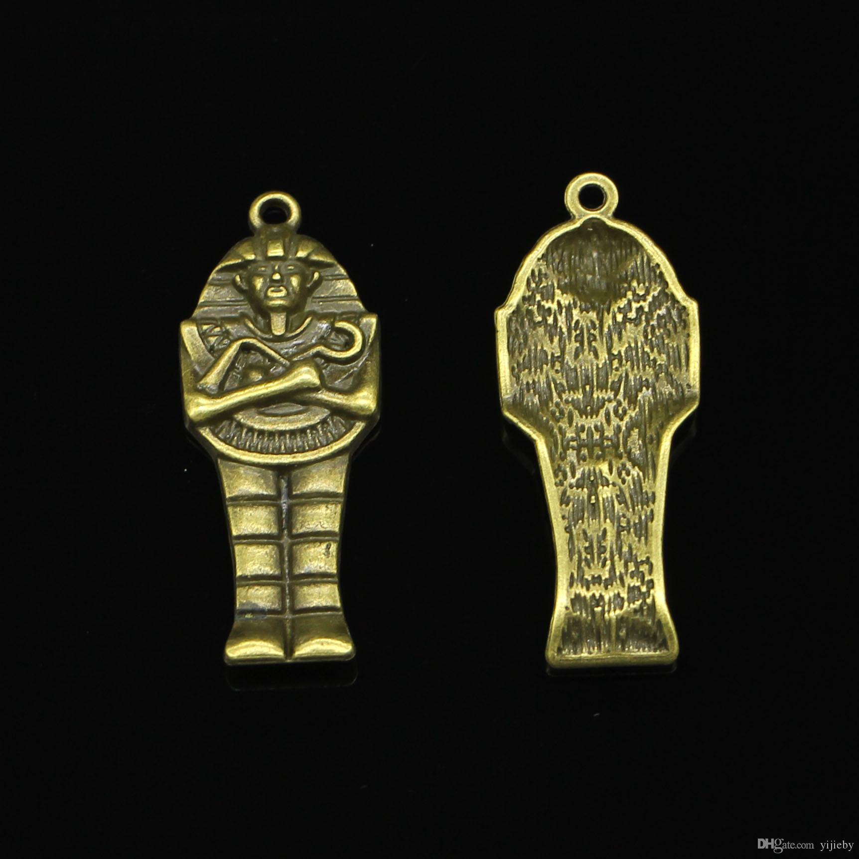 24pcs Antique Bronze Plated Egyptian mummy Charms Pendant fit Bracelet Necklace Jewelry DIY Making Accessories 45*18mm