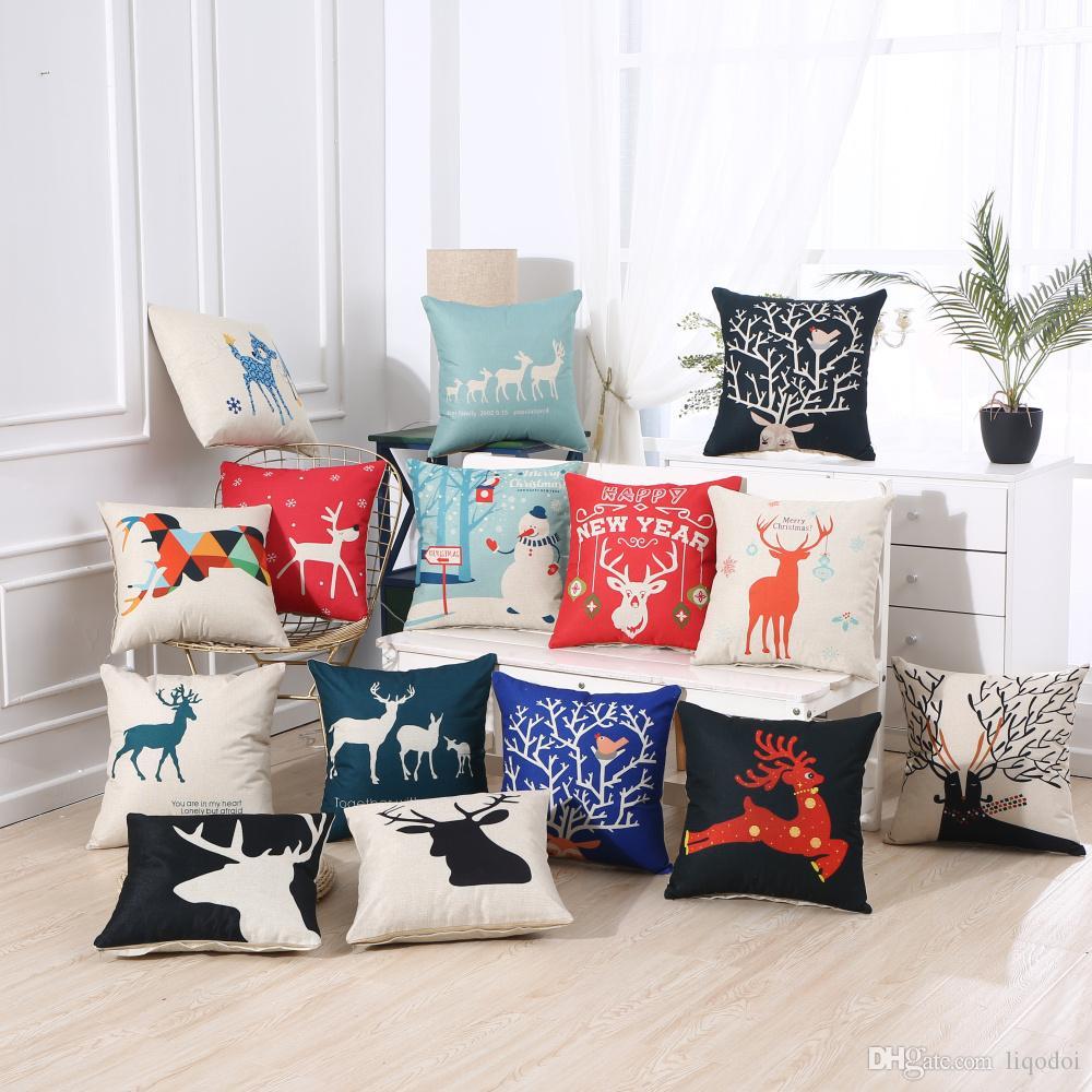 pillows christmas pillow case deer cotton linen sofa throw square rh horizon2020foodentwin rs