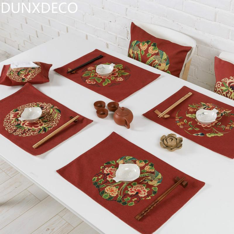 2019 dunxdeco table placemat plate cover mat vintage chinese style rh dhgate com