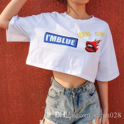 e268be194a80ce Cartoon Lips Cotton T Shirt Women Basic T-Shirt Casual O-Neck Tee ...