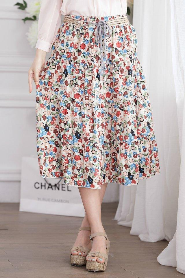 Boho Style Floral Print Long Skirts Womens Bottoms 2018 Summer High Waist  Skirt Elastic Vintage Sexy Skirt Female Pleated UK 2019 From Qinfeng04 b991daecb201