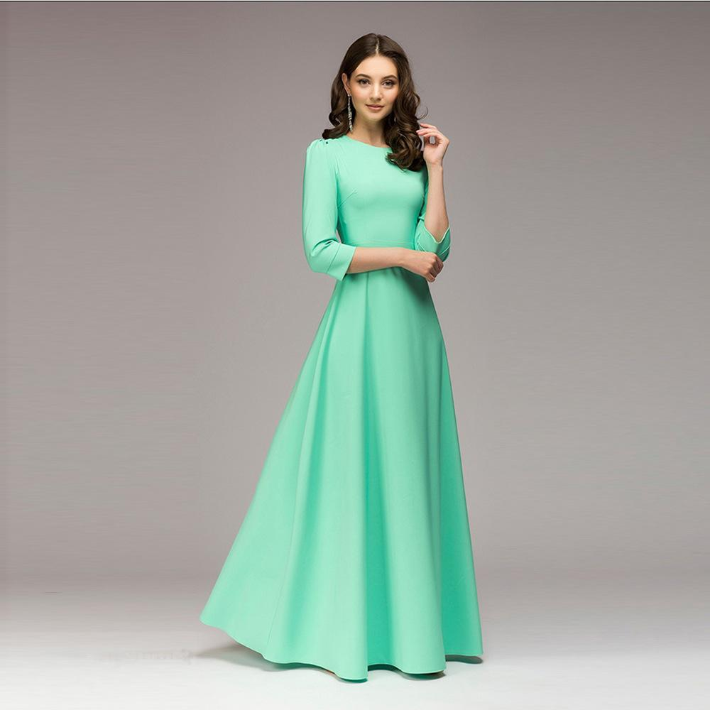 more photos b6820 41ead Abito lungo da donna color verde Vestitino elegante O-Collo Tre quarti  Abito casual per donna Abito lungo autunno