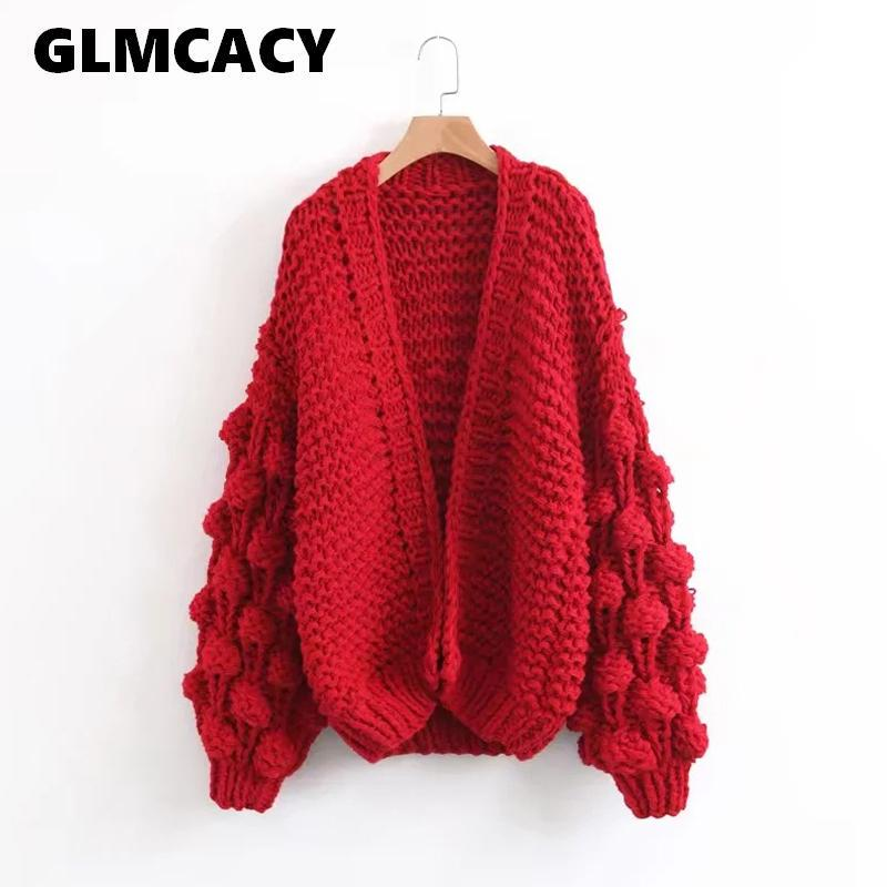 1ad1cd86357 Women Baggy Hand Made Knitted Sweaters Winter Fashion Lantern Sleeve  Cardigan Female Open Front Casual Sweet Sweater