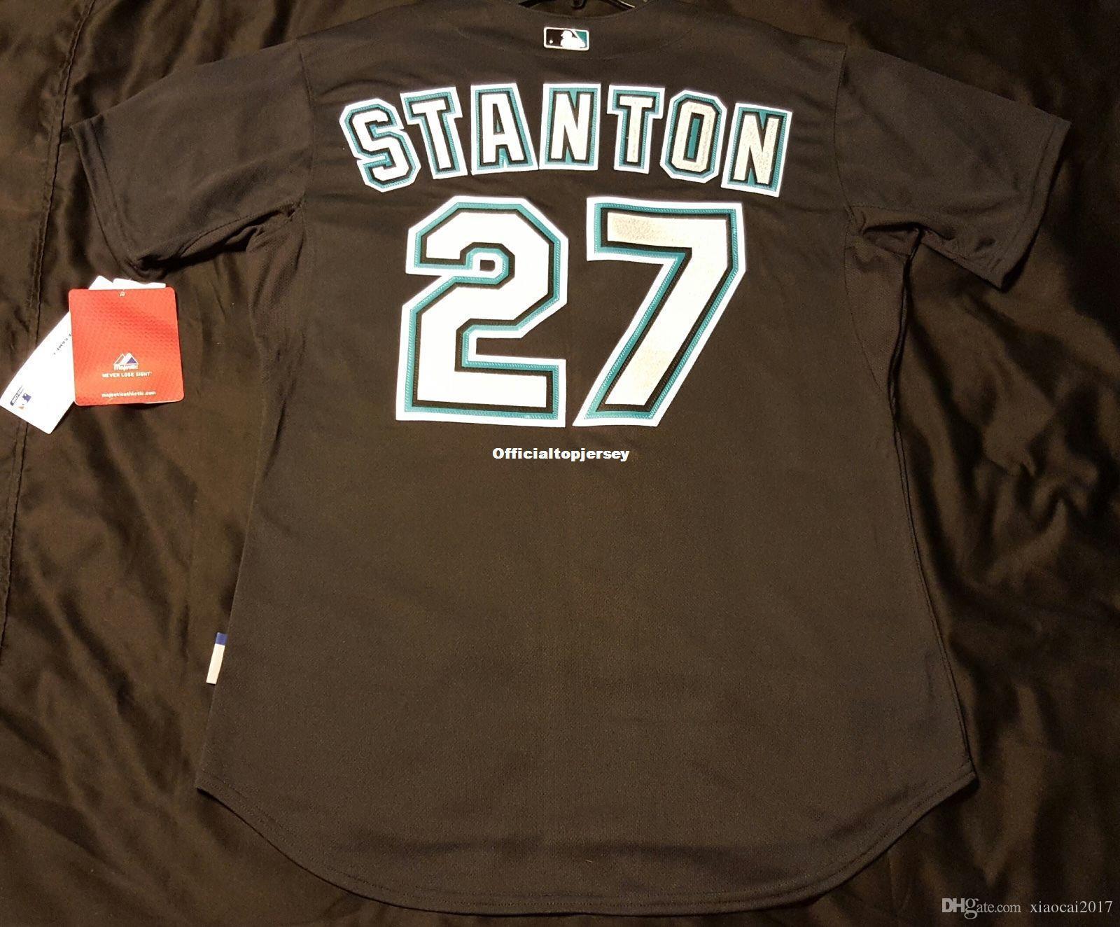 853869853 2018 Majestic Cheap Florida  27 Giancarlo Stanton Cool Base Jersey Mens  Stitched Wholesale Big And Tall Size Xs 6xl Baseball Jerseys From  Xiaocai2017