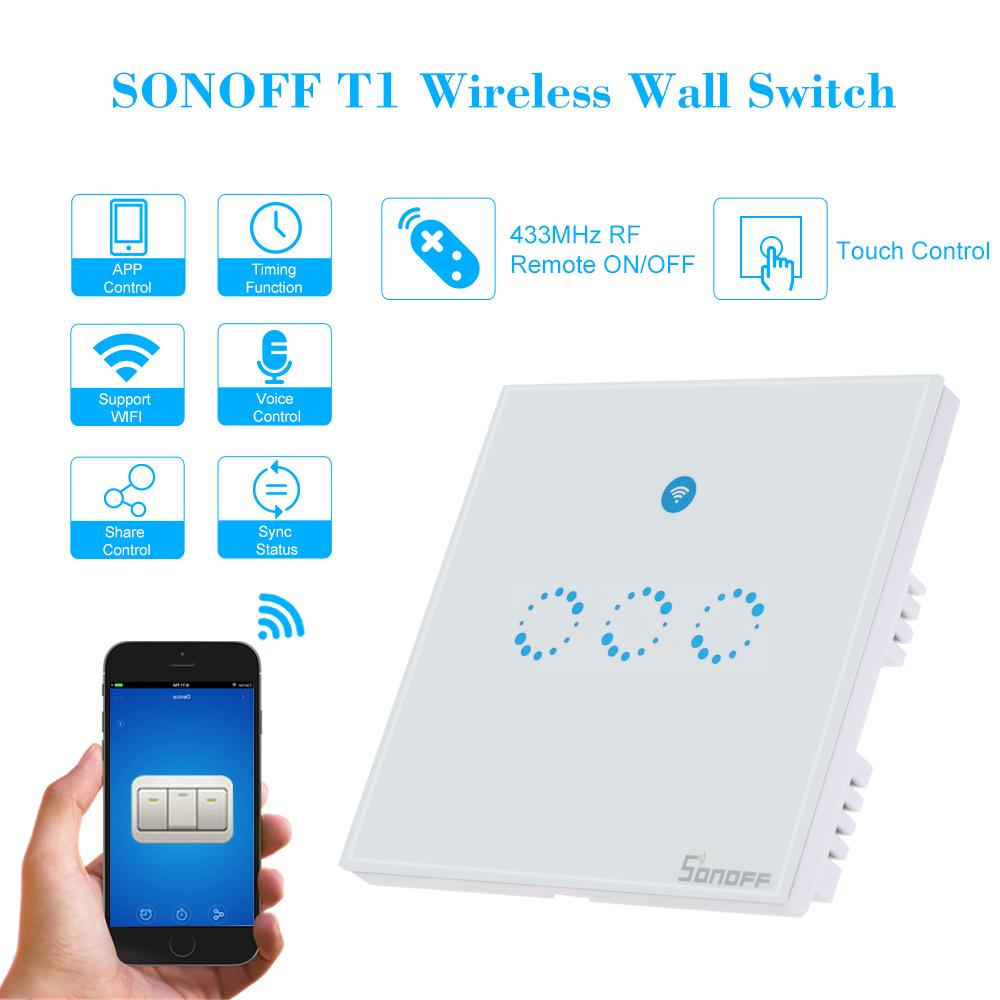 Sonoff T1 3 Gang Smart Wifi Wall Light Switch Rf/App/Touch Control ...