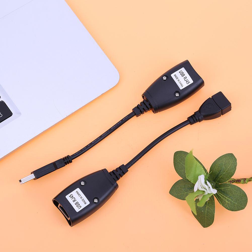 USB 2.0 ERKEK KADıN Cat6 Cat5 Cat5e 6 Rj45 LAN Ethernet Ağ kablosu Genişletici Uzatma Tekrarlayıcı Adaptör Kablosu 150 Feet