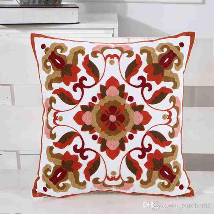 Full Cotton Embroidered Pillowcases National Style Series Pillow Case Decorative Sofa Car Cushion Cover Home Cafe Decor Party Gift 45*45CM