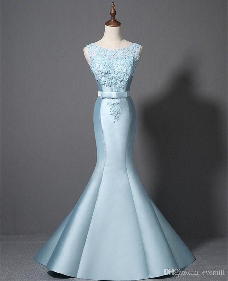 2018 Mermaid Prom Dresses Light Sky Blue Long Women Ladies Dresses for Party Summer Dresses Beaded Lace Appliques Formal Gowns