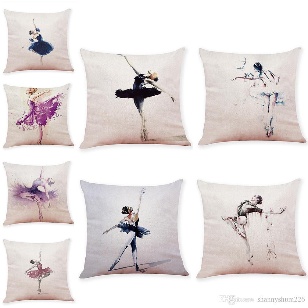graceful ballet pattern linen cushion covers home office sofa square rh dhgate com