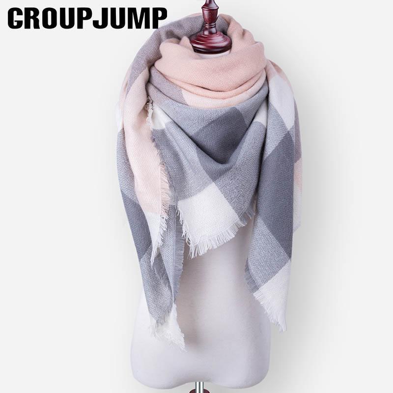 5bfc6bfdd GROUP JUMP Brand Fashion Winter Scarf Women Triangle Warm Scarf Women Plaid  Blanket Cashmere Scarves Wholesale Drop Shipping Survival Bandana Bandana  ...