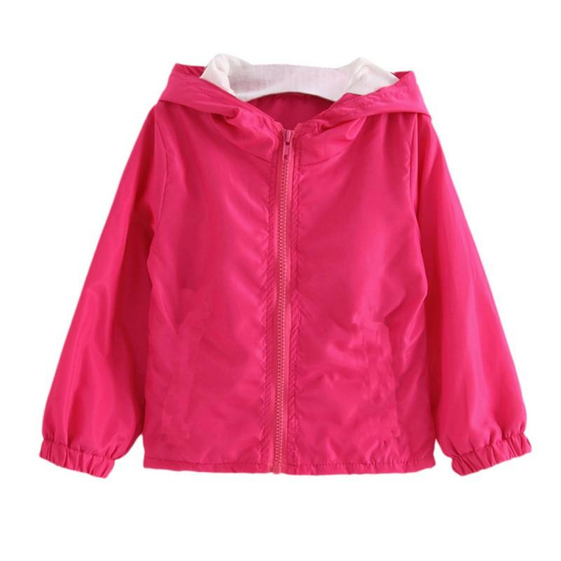 6d83b1a21d17 Baby Girl Jackets Coat Spring Autumn Solid Hooded Windbreaker Baby ...
