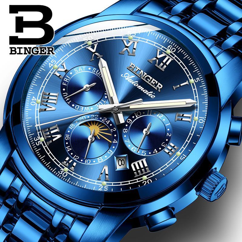 6aa4d5129ad Compre Suíça Relógio Mecânico Automático Dos Homens Binger Marca De Luxo  Mens Relógios De Safira Relógio À Prova D  Água Relogio Masculino B1178 8  De ...