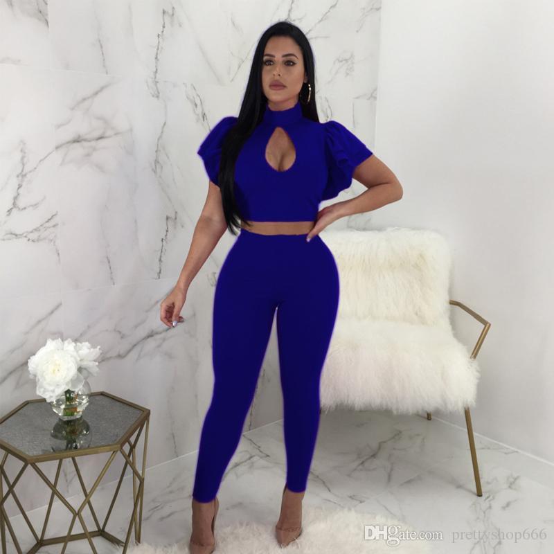 Pink/Black/Blue Ruffles Fashion Women Two Pieces Set Sexy Key Hole Petal Sleeve Crop Tops Long Elastic Waist Skinny Pants Suits S-XL