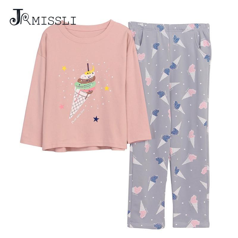 5089f9600f JRMISSLI Autumn 100% Cotton Women Homewear Clothing Leisure Comfortable Soft  Cartoon Sweet Tube Print Women Pajama Sets Pajama Sets Cheap Pajama Sets ...