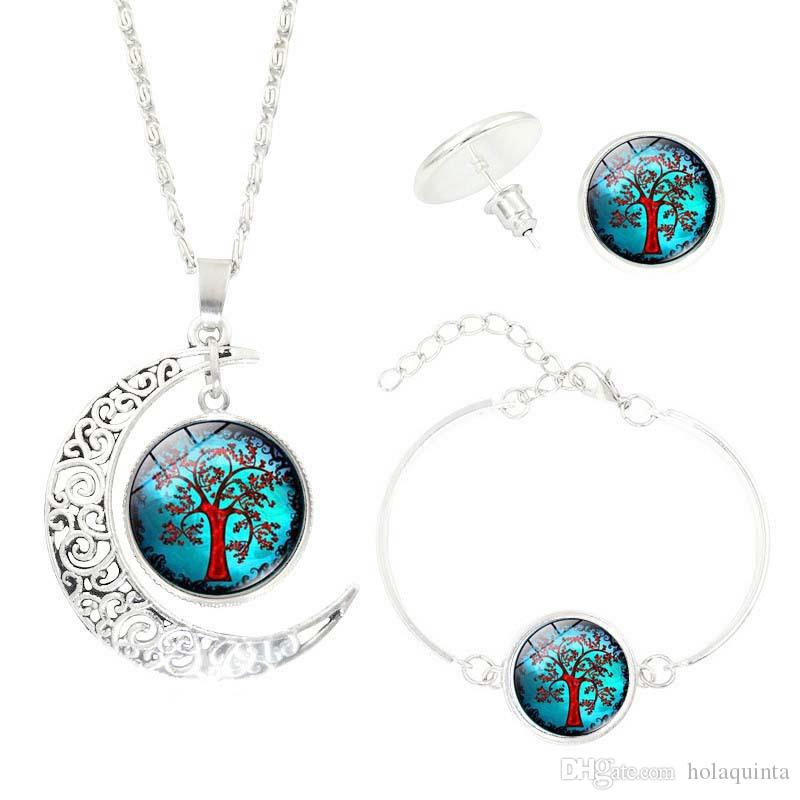 Glass Cabochon Necklace & Earrings & Bangle Set Colorful Life Tree Art Picture Pendant Statement Chain Crescent Moon Necklace
