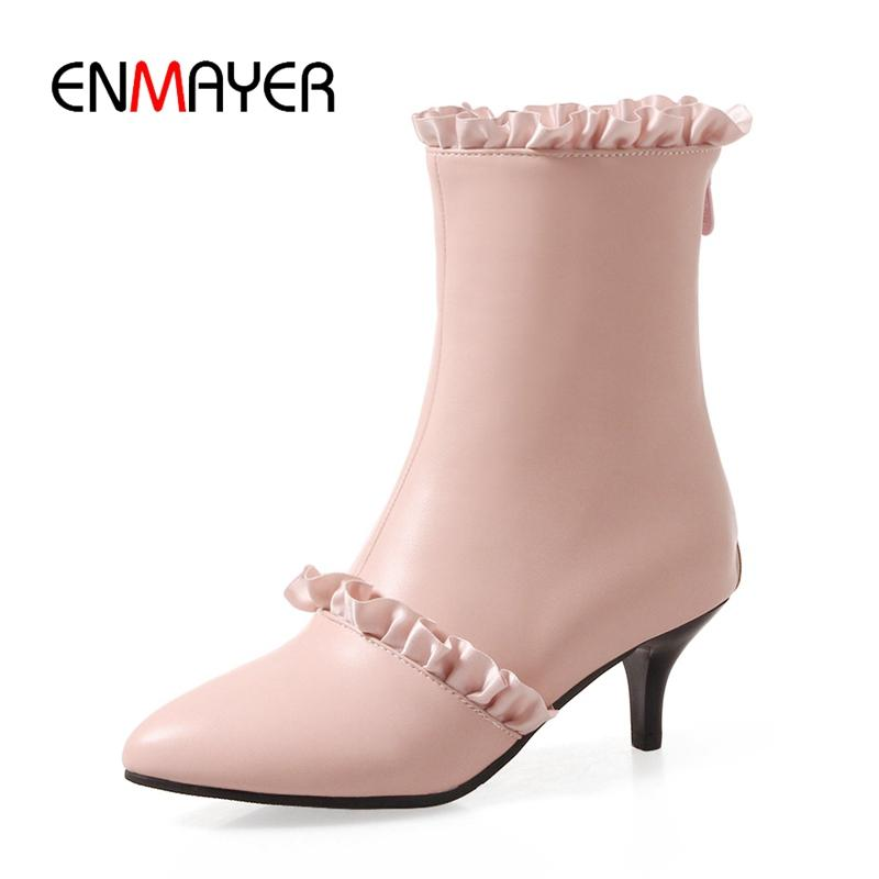 b9fd8f62dc9ab ENMAYER New Fashion Women Pointed Toe Thin Heel Ruffles Zip Ankle Boots  Lady Solid Fashion Boots Big Size 34 43 ZYL692 Sexy Shoes Boots Shoes From  ...