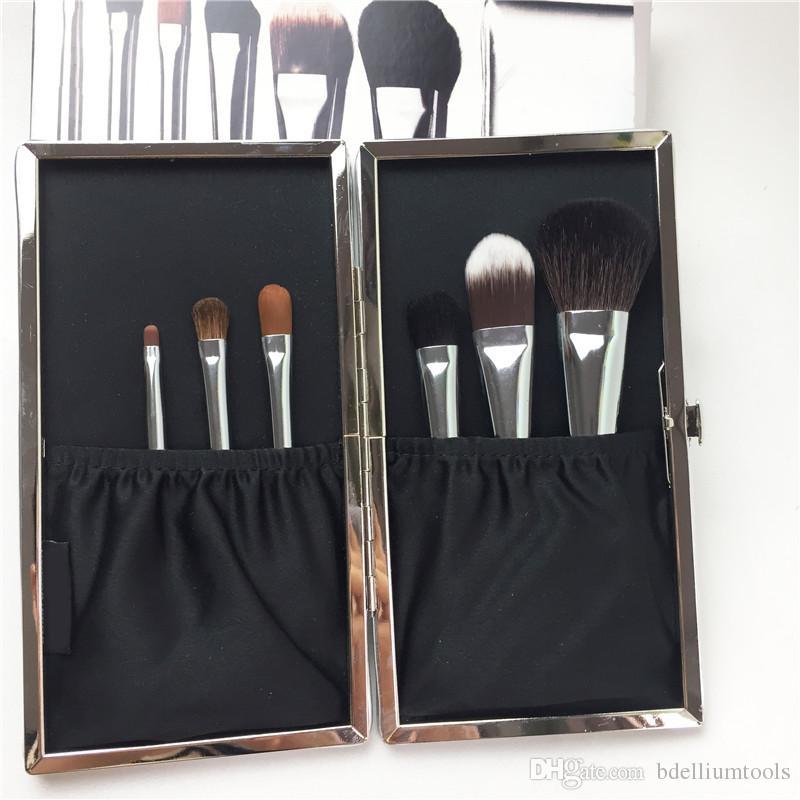BB-Seires Gümüş Seyahat Fırça Seti 6 adet göz kalemi / gölge / Sweep kapatıcı karıştırma Vakfı Allık - Yüksek Kalite güzellik Makyaj Fırçalar Aracı
