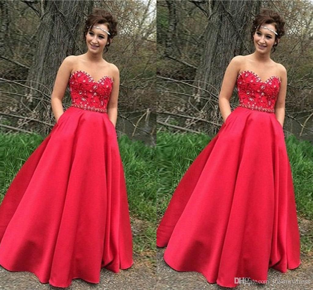 5ae06e927e0 Red Sequined Dresses Prom Dress 2019 Strapless Lace Satin Crystal Backless Formal  Dress Evening Gowns Graduation Dress Plus Size With Pocket Cheep Prom ...