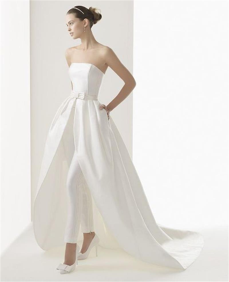 Splendidi abiti da sposa linea A Abiti da donna Tute Bateau Neck rimovibili da treno da sposa Abiti matrimoni