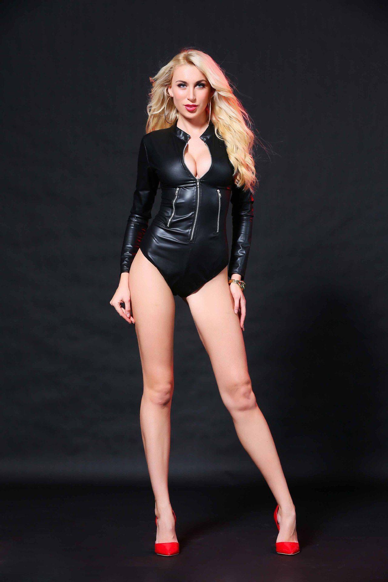Livraison gratuite !!! lingerie sexy Combinaison de sous-code en cuir verni noir.