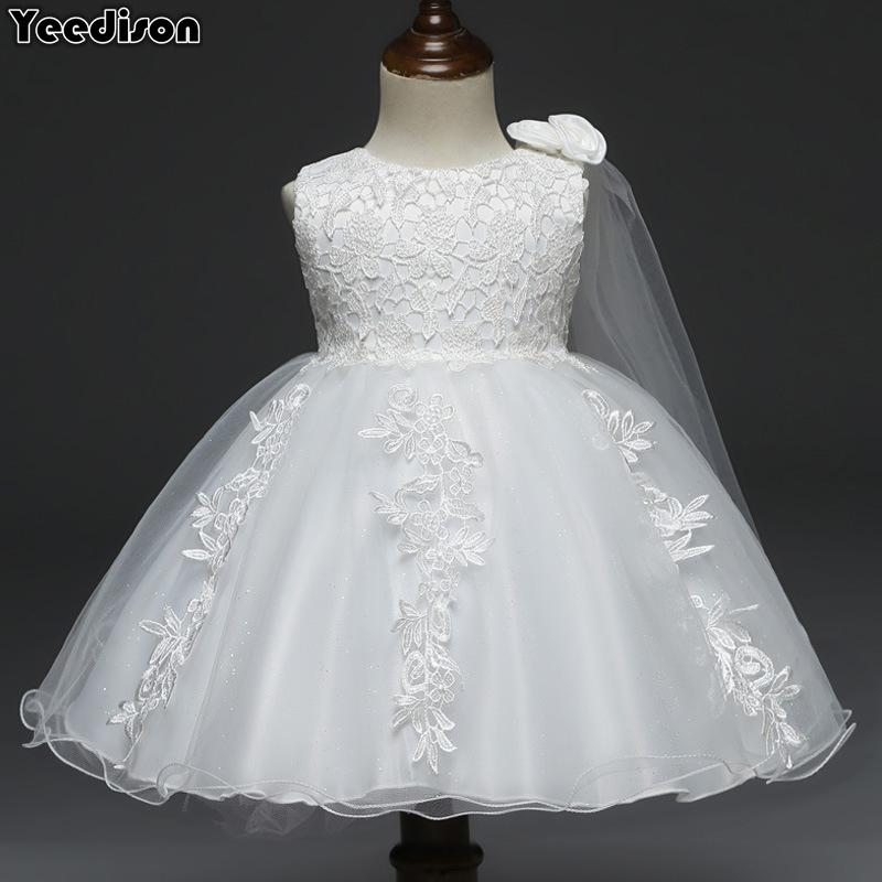 32ebf6fb2979a Baby Dresses White Flower Lace 1st Year Birthday Infant Outfits Newborn  Princess Party Wedding Christening Dress For Baby Girl