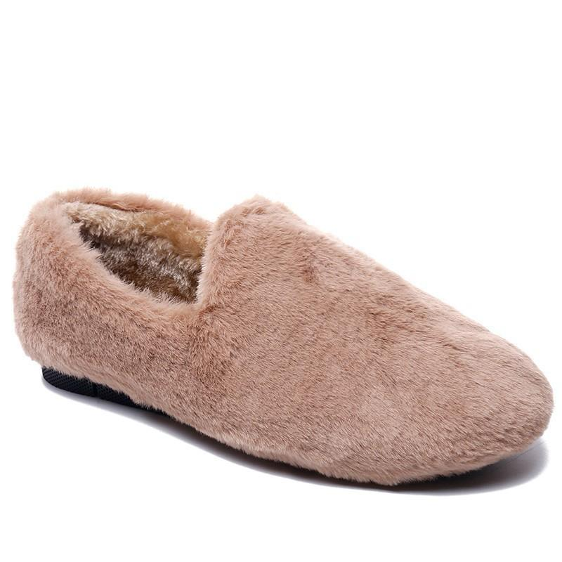 8656a9c6e Winter Fur Slippers Women Warm Ladies Home Slippers Plush Mules Fur Shoes  Woman Flats Fur Slides Indoor Flip Flops Women Online with $53.02/Piece on  ...