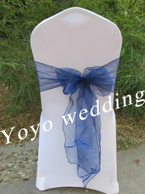 wholesale navy blue crystal organza sash chair cover bow chair cover tie rh dhgate com