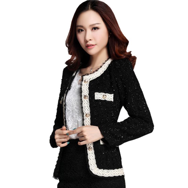 2bc9bddb63c16b 2018 New blazer mulheres paillette jaqueta de blaser formal para o desgaste  do trabalho da mulher plus size senhora casaco ternos top túnica branco, ...