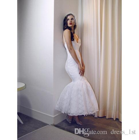 2018 Elegant Vintage Lace Mermaid Wedding Dresses Cheap Spaghetti Tea Length Bridal Gowns Custom Made From China EN12215