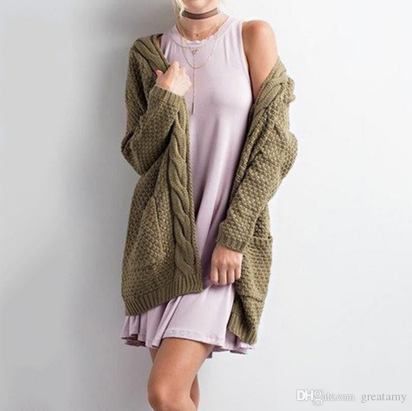 La moda de Nueva otoño invierno boho de las mujeres de manga larga delantera abierta grueso chaquetas de punto caliente pointelle suéter suéter acogedor