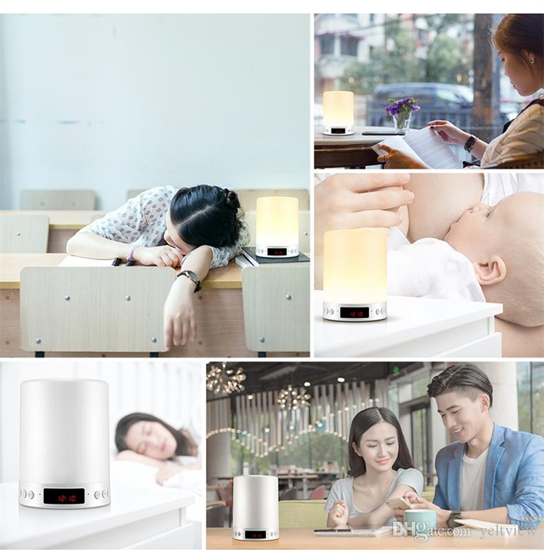 S66+ Portable Bluetooth Speaker Night Light Wireless Stereo Touch Sound LED Lamp Time Display Clock Alarm Loudspeakers Speakerphone TF Card